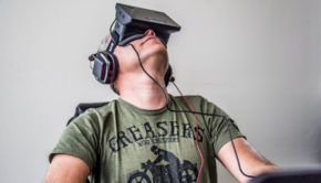 Man experiencing Oculus Rift Virtual Reality glasses