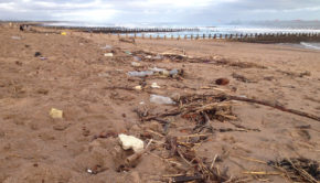 Plastic and other waste on Aberdeen beach