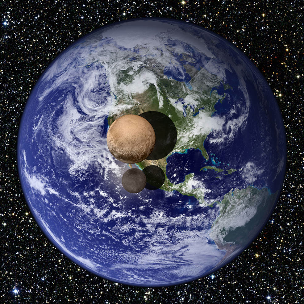 Picture 1: The size of Pluto and its biggest moon, Charon, compared to the Earth.