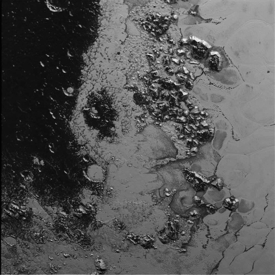 Picture 3: mountain-like structures on Pluto.
